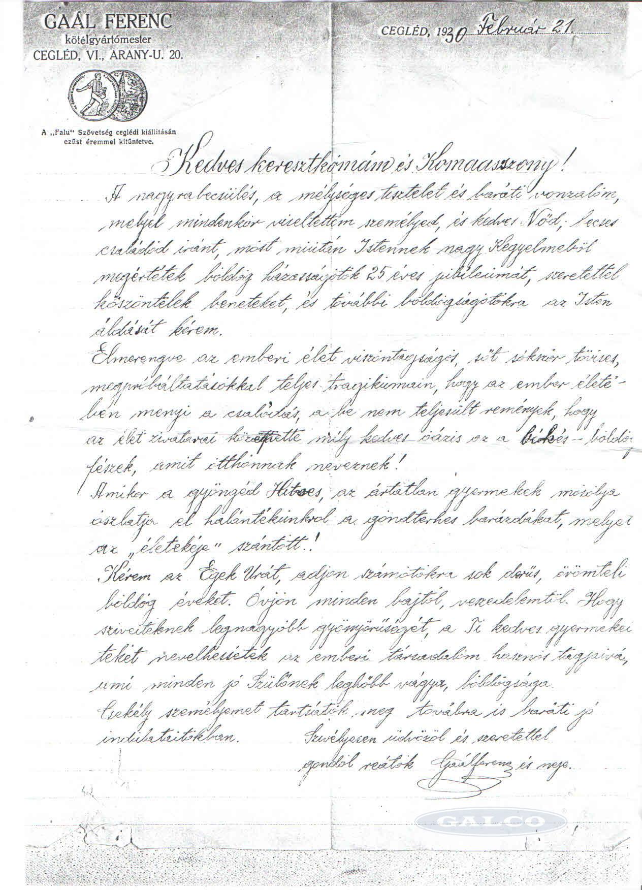 Kép: Gál Ferenc levél